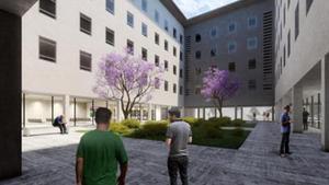 Patio interiorde la cárcel Modelo recuperado para la ciudad.
