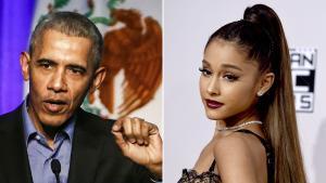 El expresidente Barack Obama y la cantante y actriz Ariana Grande.
