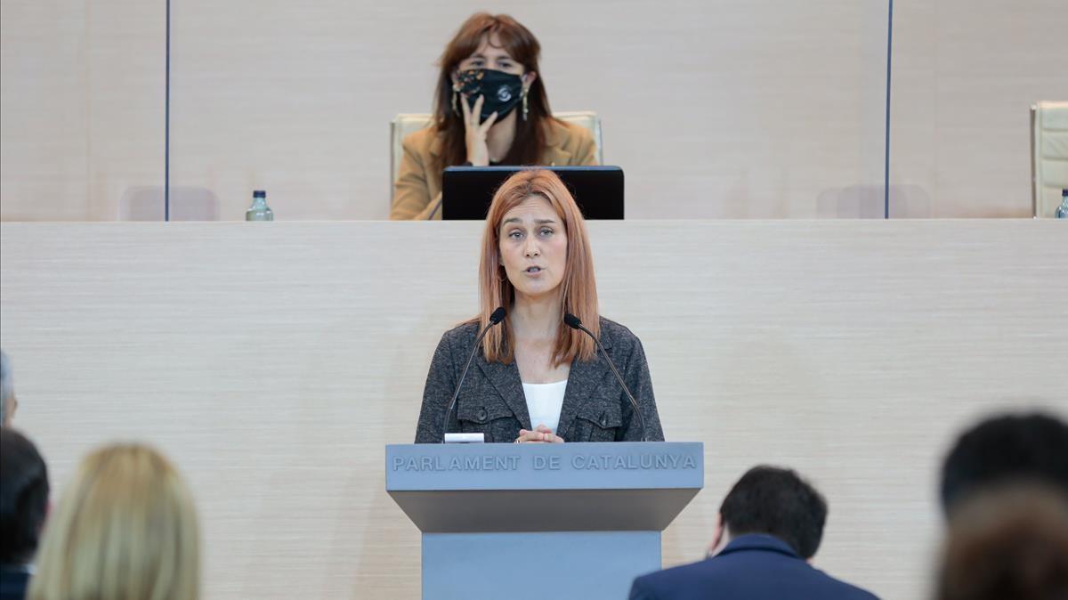 La portavoz de En Comú Podem en el Parlament, Jéssica Albiach, en el debate de investidura de Pere Aragonès, este viernes.