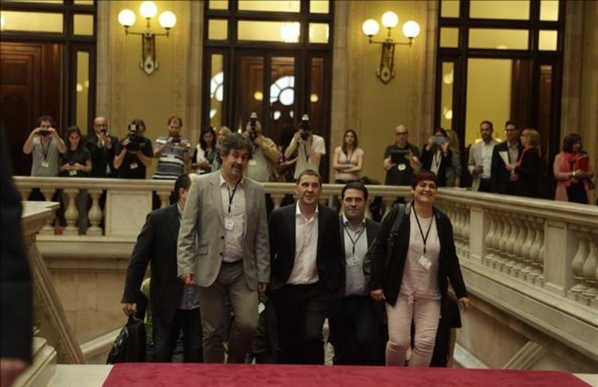 Arnaldo Otegi, en el Parlament.