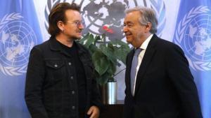 Bono yAntonio Guterres en la sede de la ONU.