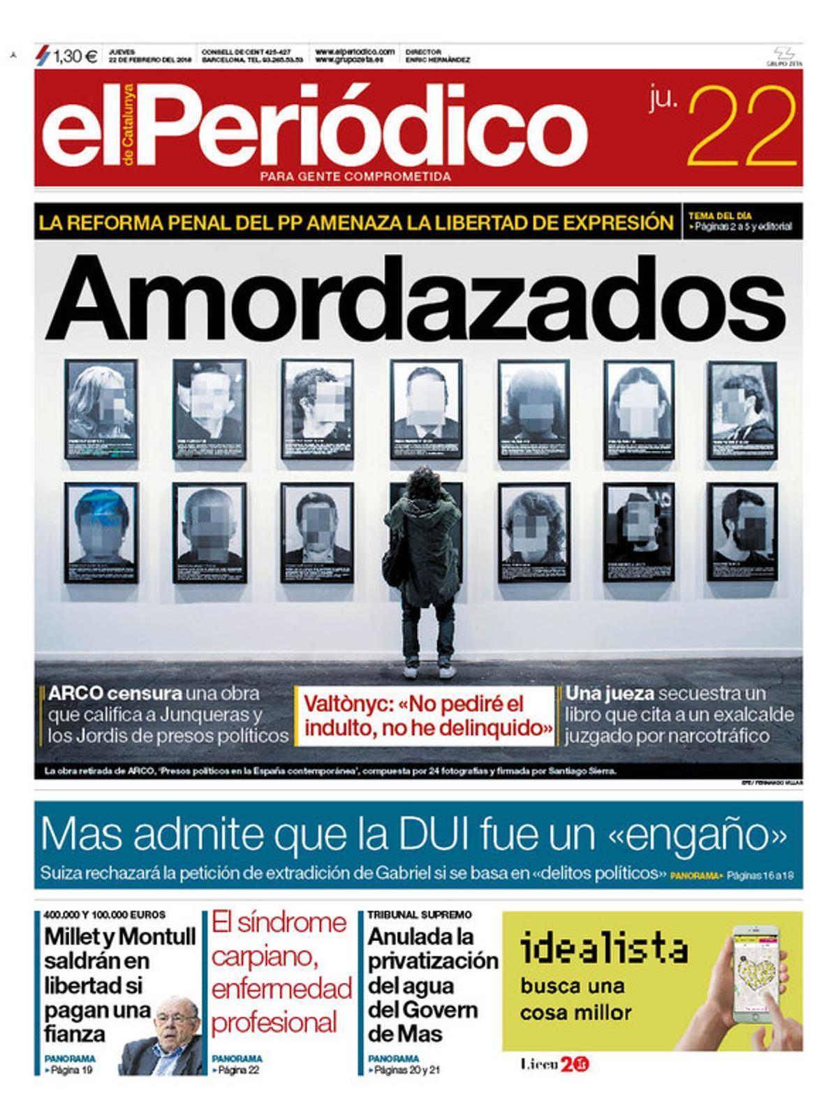 La portada de EL PERIÓDICO del 22 de febrero del 2018