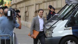 Oriol Pujol, llegando este martes a la Audiencia de Barcelona.