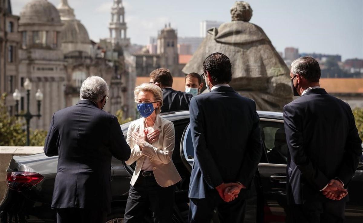 Llegada de la presidenta de la Comisión Europea, Ursula Von der Leyen, a la ciudad lusa de Oporto.