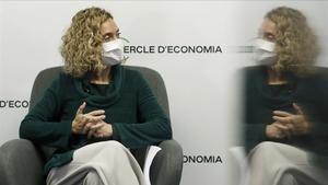 La presidenta del Congreso, Meritxell Batet, este martes durante su conferencia en el Cercle d'Economia.