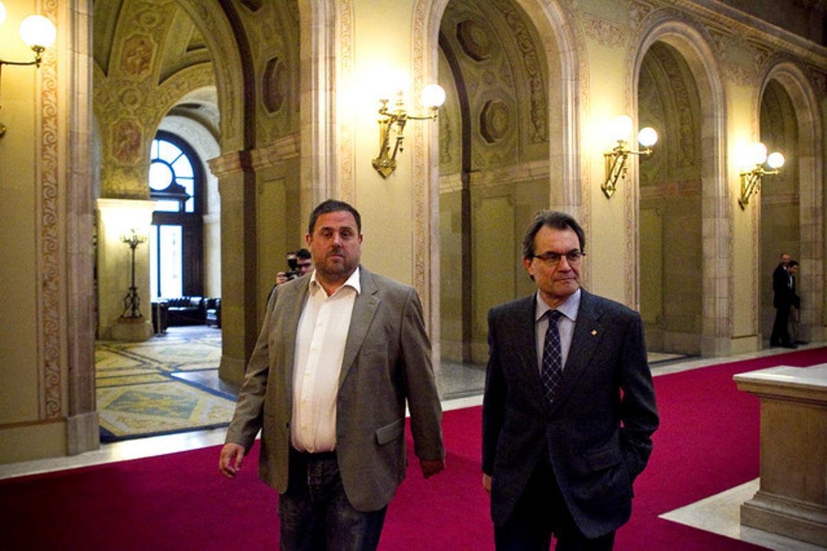 Oriol Junqueras y Artur Mas, la semana pasada en el Parlament.