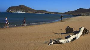 La playa virgen de Los Genoveses, cerca de la que la Junta ha autorizado un hotel de cuatro estrellas, en el parque natural del Cabo de Gata.