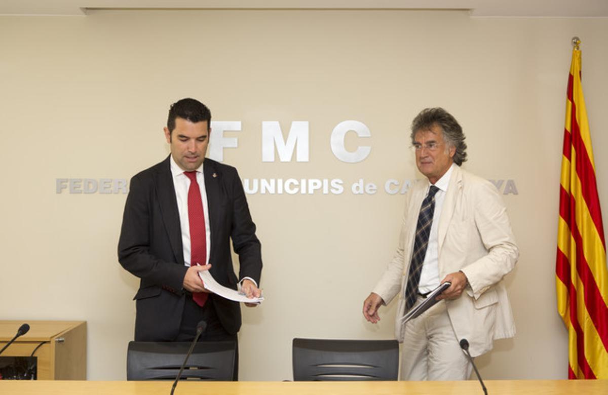 El presidente de la FMC, Xavier Amor (izquierda) y el secretario general de la entidad, Juan Ignacio Soto, el jueves en rueda de prensa.