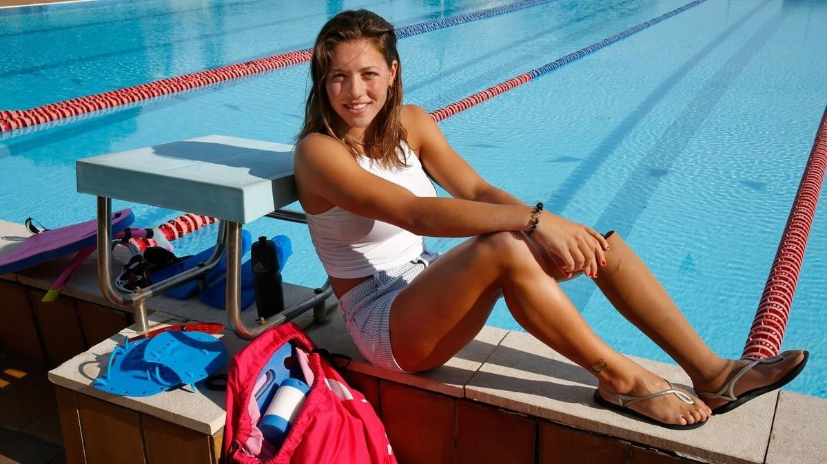 NúriaMarquès, en la piscina del CAR de Sant Cugat, donde entrena cada día.