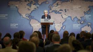 Theresa May, en su último discurso en Londres.