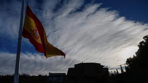 La bandera de España en la plaza Colón de Madrid
