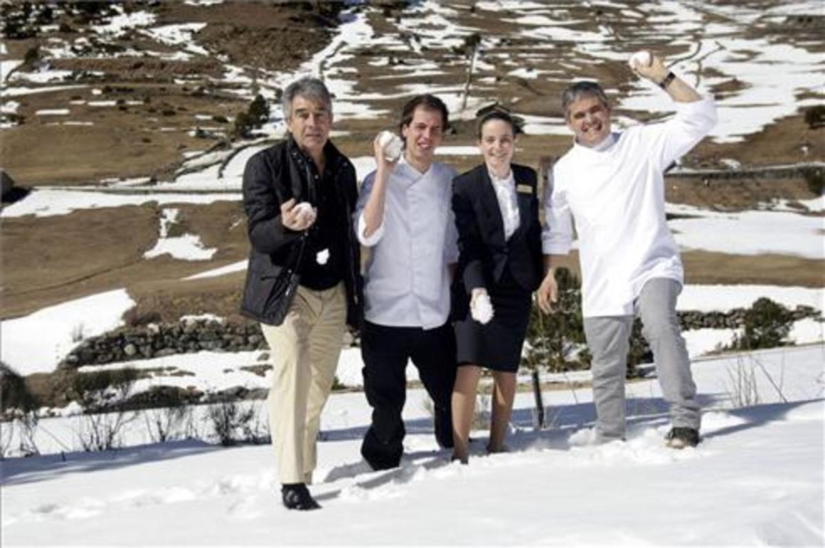 Josep Calbó, Maties Coll, Virginia González y Nandu Jubany, en Andorra. Foto: Àlex Lara