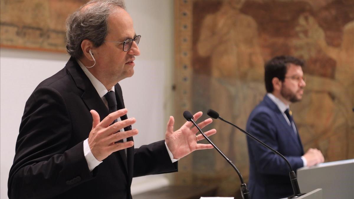 Torra y Aragonés, durante una comparecencia conjunta