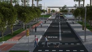 Render de la vía urbana proyectada en la carretera C-245
