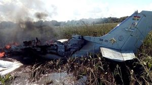 Restos del avión accidentado en Bolivia.