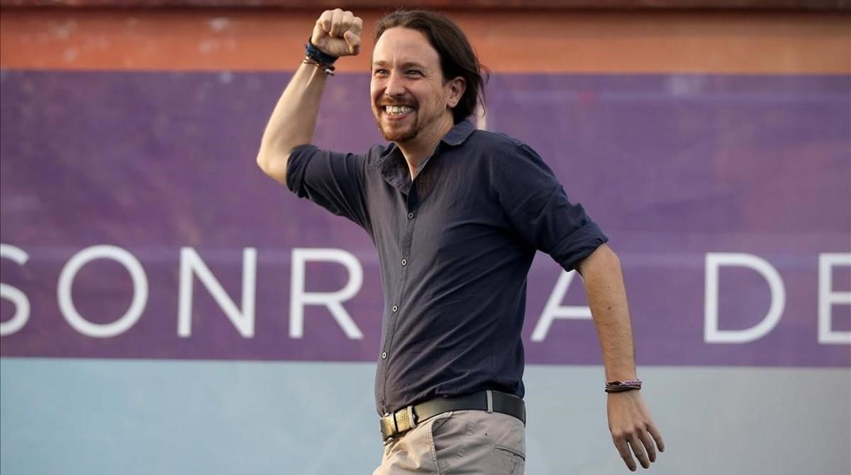 Pablo Iglesias en el mitin del cierre de la campaña del 26-J, en Madrid.