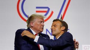 Trump y Macron, este lunes, durante la rueda de prensa que han ofrecido en la clausura del G-7.