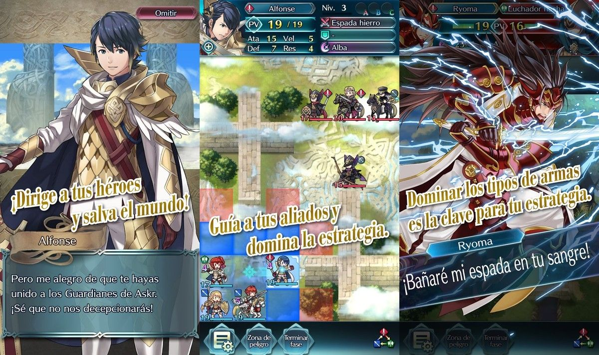 La aplicación Fire Emblem Heroes.