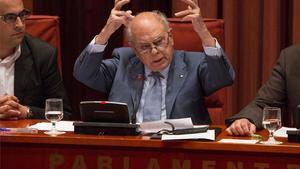 Jordi Pujol, en un momento de su comparecencia en el Parlament.