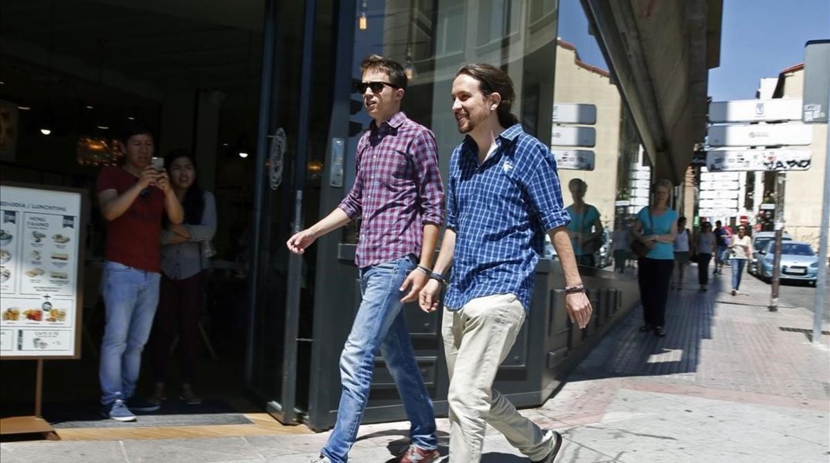 Íñigo Errejón y Pablo Iglesias, el pasado viernes, a su llegada a la sede de Podemos.