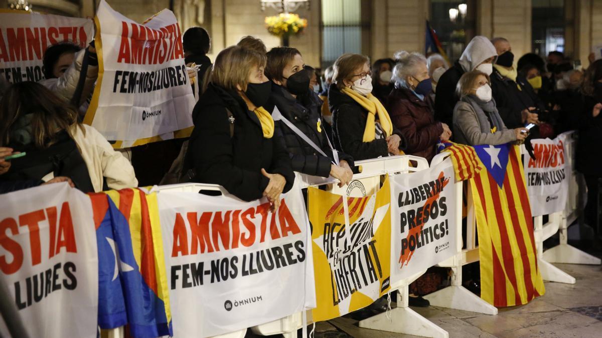 Concentración en apoyo a los presos del 'procés', el 9 de marzo de 2021 en Barcelona