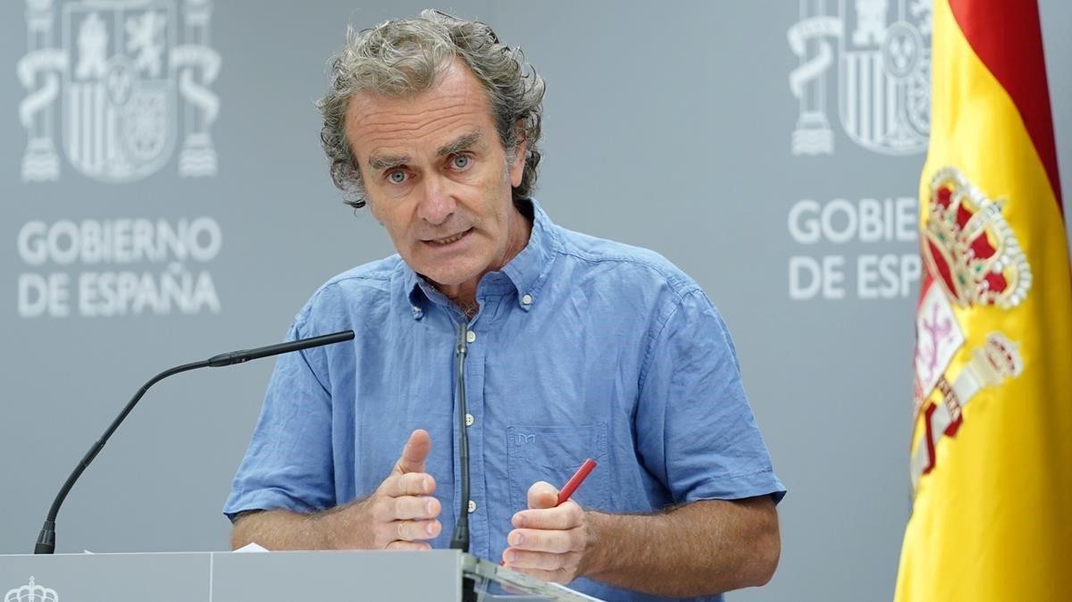 Fernando Simón, durante la rueda de prensa de estelunes.