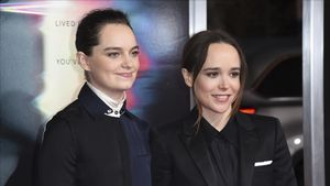 FILE - In this Sept  27  2017 file photo  Emma Portner  left  and Ellen Page arrive at the world premiere of  Flatliners  at The Theatre at Ace Hotel  in Los Angeles   Page has married Portner  her publicist confirms   Page  30  first posted the news on Instagram Wednesday  Jan  3  2018   with a photo of the couplea  s hands wearing wedding bands on their ring fingers    (Photo by Richard Shotwell Invision AP  File)