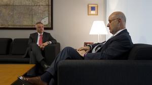 Pere Navarro y Josep Antoni Duran Lleida, en la sede de Unió Democràtica de Catalunya, en junio del 2012.
