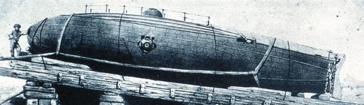Dibujo de la botadura en Barcelona del 'Ictíneo I', el primero de los dos submarinos de Monturiol, en 1859.