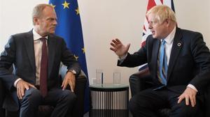El presidente del Consejo Europeo, Donald Tusk, y el primer ministro británico, Boris Johnson, en un encuentro en la sede de Naciones Unidas, el pasado septiembre.
