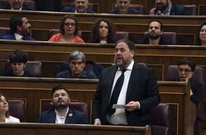 El líder de ERC, Oriol Junqueras, en el Congreso durante la constitución de las Cortes