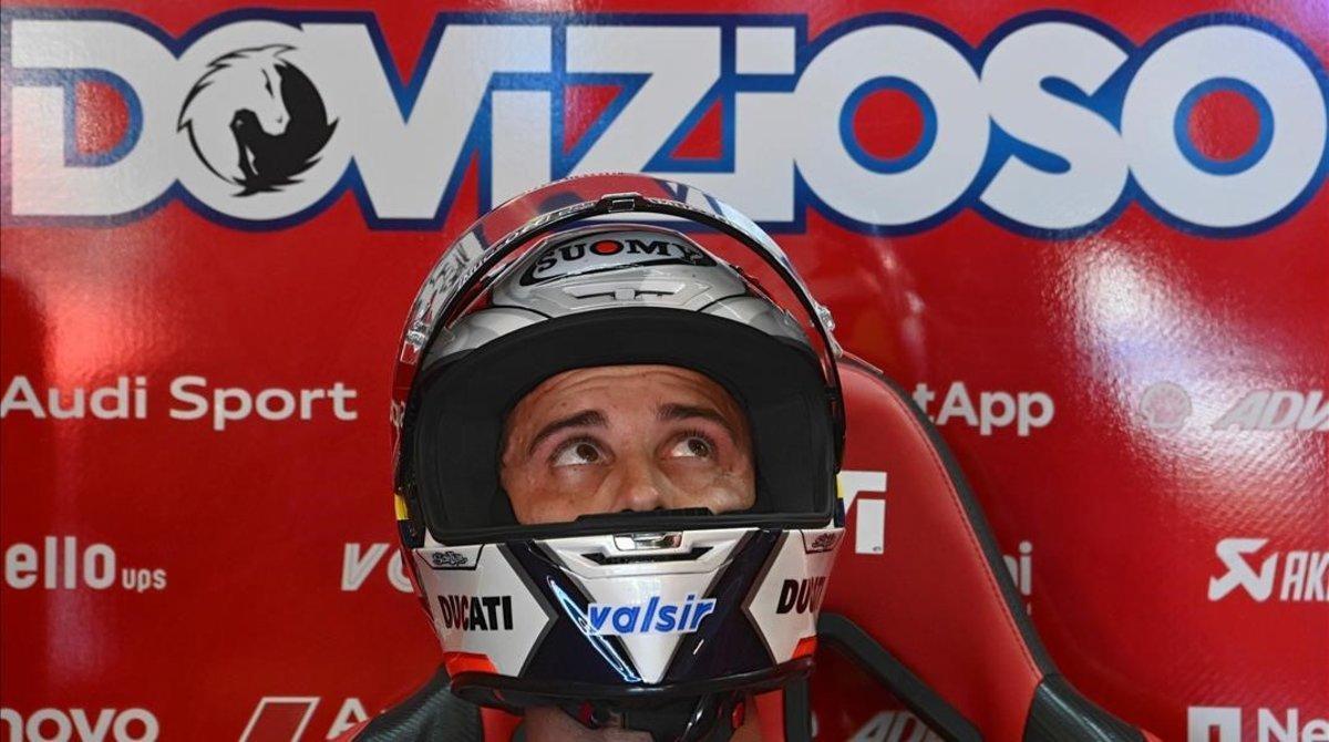 El italiano Andrea Dovizioso, ayer, en su boxe de Misano.