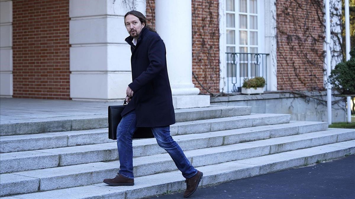 Pablo Iglesias, el pasado martes antes de entrar en la primera reunión del Consejo de Ministros.