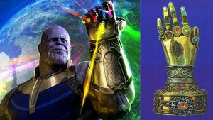 A la izquierda, Thanos con el guantelete del infinito y a la derecha, el relicario con la mano incorrupta de santa Teresa.