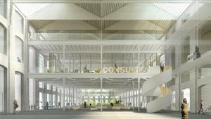 Recreación del interior del futuro Arxiu de la Ciutat de Barcelona en Can Batllló.