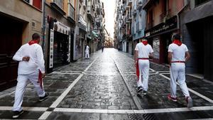 Ni corredores ni toros por el covid: así fue el 'no encierro' de San Fermín