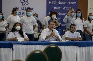 Miembros de la opositora nicaragüenseAlianza Cívica por la Justicia y la Democracia.