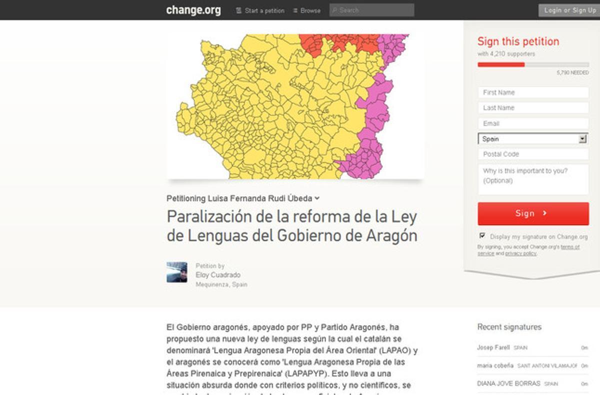 Petición en Change.org para paralizar la Ley de Lenguas del Gobierno de Aragón