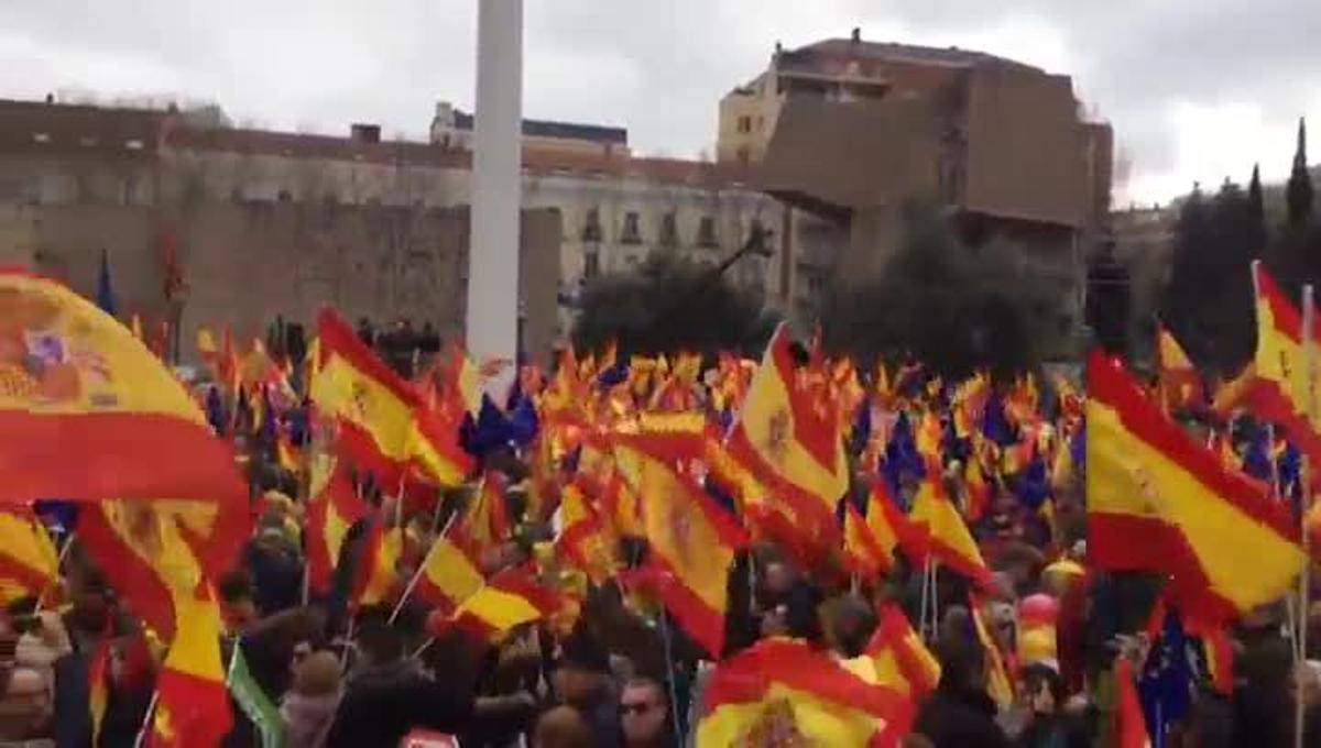 Manifestación de PP, Cs y Vox en Madrid contra Pedro Sánchez.