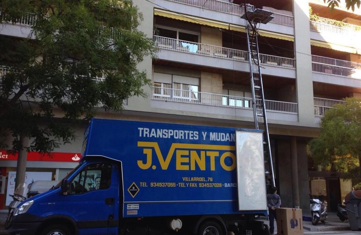 Una mudanza en las calles de Barcelona.