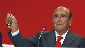 Emilio Botín, en el 2012, durante la junta de accionistas de Universia.