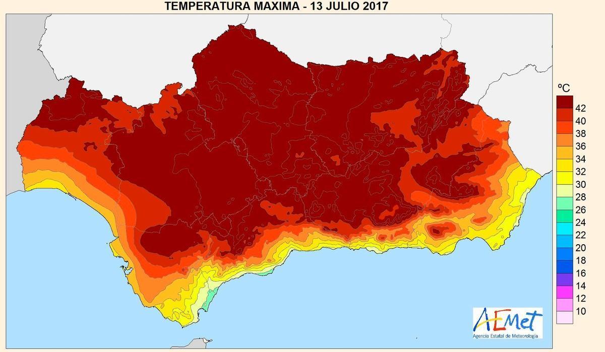 Mapa de la Aemet con las temperaturas máximas alcanzadas el jueves 14. El color más oscuro corresponde a registros superiores a 42 grados.