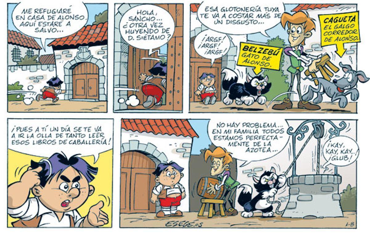 Viñetas de Esegé de 'El pequeño Quijote'.