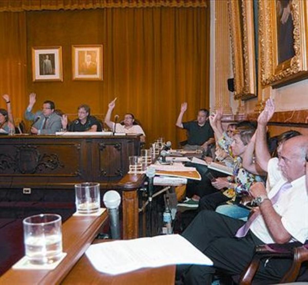 El pleno del Ayuntamiento de Vilanova i la Geltrú, ayer.