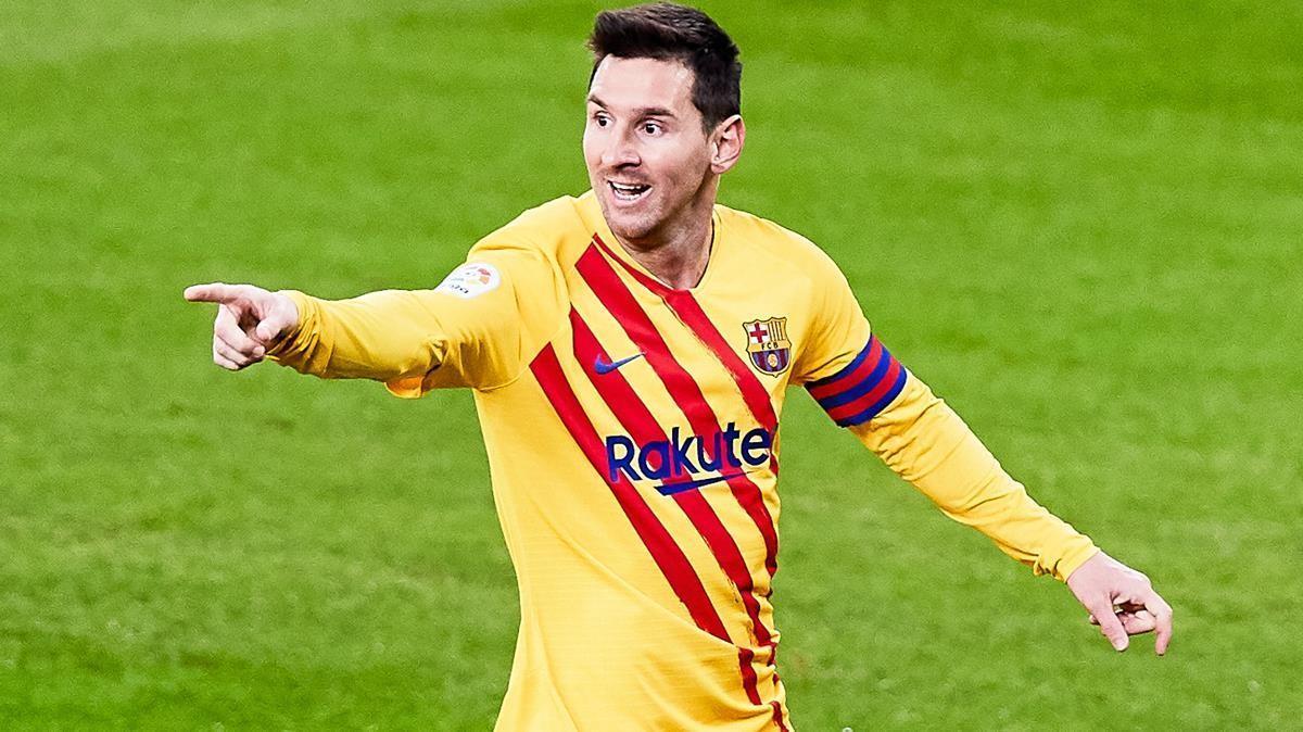 Messi celebra el primero de sus dos goles en San Mamés.