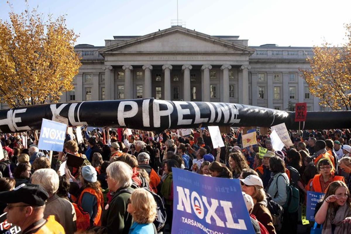 Manifestación en contra del oleoducto Keystone XL, el pasado 6 de noviembre en Washington.