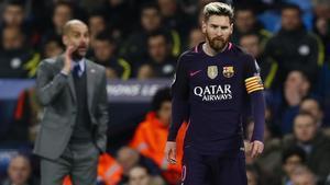 Guardiola y Messi en un City-Barça de Champions en el Etihad Stadium de Manchester.