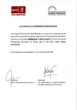 Enmienda de PSOE y Unidas Podemos a los Presupuestos Generales del Estado de 2021 por la que se congelan los sueldos del Gobierno.