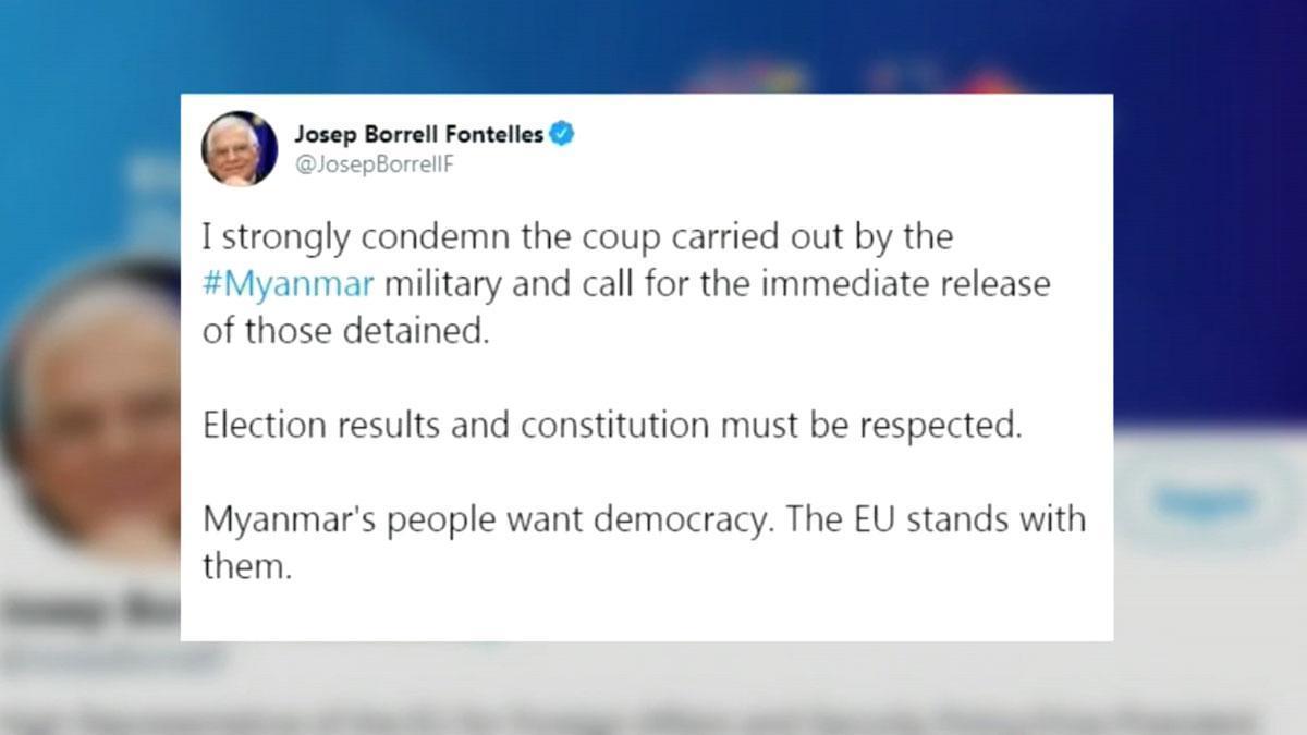 La UE, el Gobierno británico y Estados Unidos condenan el golpe de Estado en Birmania.