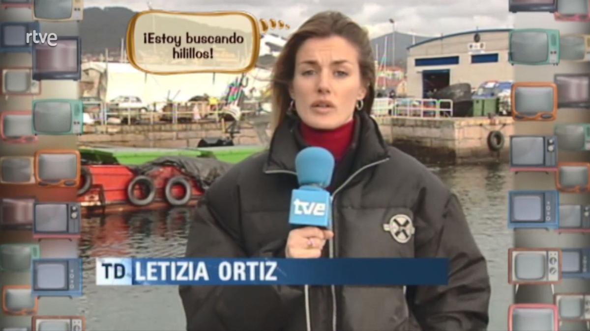 Letizia Ortiz. informando del 'Prestige', 2002.